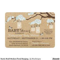 Rustic Kraft Modern Floral Hanging Jar Baby Shower 5x7 Paper Invitation Card