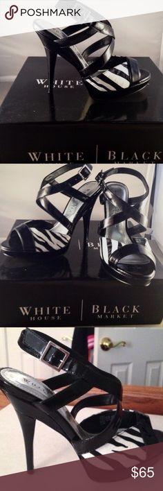 Black House White Market Zebra Heels Perfect condition. Never worn White House Black Market Shoes Heels