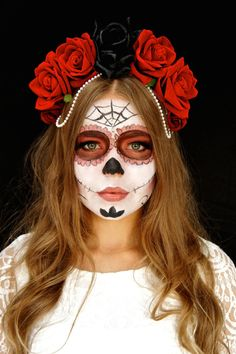 Halloween Day of the Dead Flower Crown Pearl Chain by FaeLondon