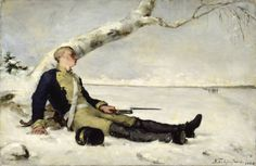 Haavoittunut soturi hangella (Wounded soldier on the snow) by Helene Schjerfbeck, oil on canvas, Ateneum Art Museum Helene Schjerfbeck, Fine Art, Wounded Warrior, Painter, Drawings, Canvas, Painting, Art, Warrior