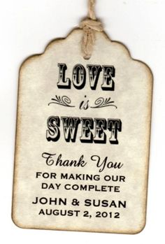 50 Wedding Favor Gift Tags / Place Cards / Escort Tags / Thank You Tags / Shower Tags / Love Is Sweet / Honey Jar Labels – Vintage Style