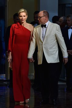 Princess Charlene of Monaco and Prince Albert II of Monaco arrive at the Monaco Red Cross Gala on July 25, 2015 in Monte-Carlo, Monaco