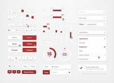 XOO Plate :: Snazzy Pizza Web UI Elements Kit PSD - With a flash of red, this red and white UI elements kit includes search and input fields, dropdown menu, buttons, check boxes, login form, tags, sliders, toggles, pagination, progress bar, selector bar, and more - PSD.