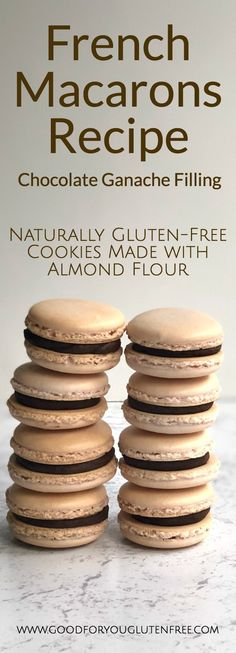 French Macarons with Chocolate Ganache Filling - gluten-free cookies - - dessert - Macarons Sans Gluten, Gluten Free Macaroons, Cookies Sans Gluten, French Macarons Recipe, Patisserie Sans Gluten, Dessert Sans Gluten, Gluten Free Desserts, Dairy Free Recipes, Gourmet Recipes