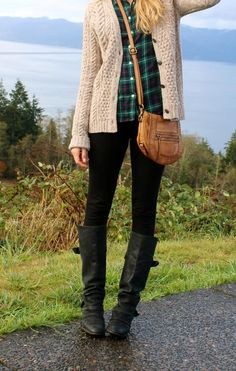 beige cardigan / plaid button-up / black denim + boots / fall outfit