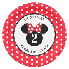Minnie Mouse | Red u0026 White Polka Dot Birthday Paper Plate  sc 1 st  Pinterest & Mickey Mouse | Icon Black u0026 White Stripe Birthday Paper Plate ...