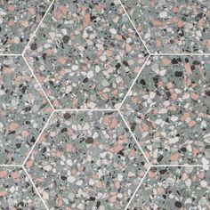 "Six Hexagon Teal 12.5"" Matte Porcelain Tile | Tilebar.com Shower Floor, Tile Floor, Nest Furniture, Mid Century Modern Bathroom, Contemporary Tile, Terrazzo Tile, Hexagon Tiles, Outdoor Flooring, Porcelain Tile"