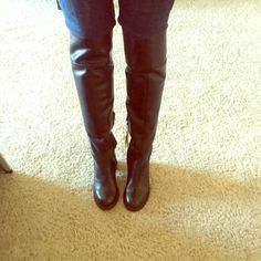 Genuine leather knee high boots. Black genuine leather. Size 37. Brand new with tags still attached. Never worn. Zara. Zara Shoes Heeled Boots