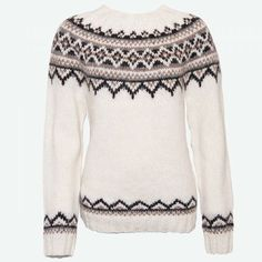 Purchase this authentic woman's hand-knit Icelandic round yoke lopapeysa wool pullover, available in nine color combinations. Hand Knitted Sweaters, Sweater Knitting Patterns, Wool Sweaters, Fair Isle Pullover, Handgestrickte Pullover, Jumpers For Women, Sweaters For Women, Icelandic Sweaters, Outdoor Apparel