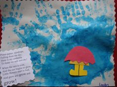 This is a cute poem for April Showers bring May Flowers April Preschool, Preschool Weather, Weather Crafts, Spring Theme, Spring Art, Spring Crafts, Daycare Crafts, Toddler Crafts, Preschool Crafts