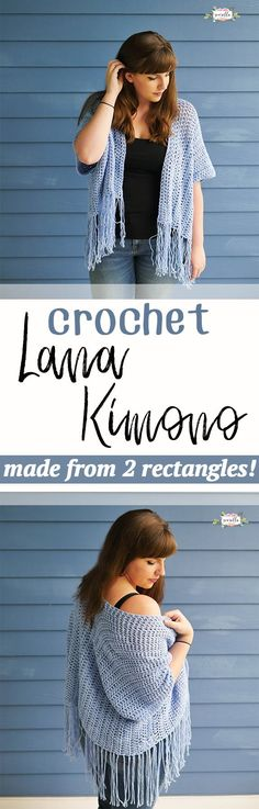 Crochet the Lana Kimono from just two rectangles! This super easy beginner friendly DIY is the best pattern for trying out garment making.