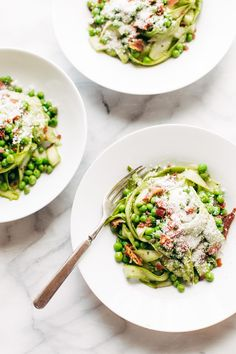 Asparagus Noodles with Pesto - shave your asparagus into long noodles just like fettuccine! Sponsored by @delallofoods  | pinchofyum.com