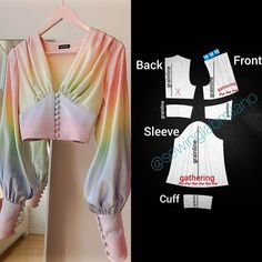 ENG➡️dear here is the pattern of the blouse you sent us! the design is from 😍 start from a basic bodice… Diy Clothing, Sewing Clothes, Dress Sewing Patterns, Clothing Patterns, Costura Fashion, Fashion Basics, How To Make Clothes, Fashion Sewing, Diy Fashion Dresses