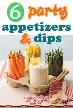 6 Party Appetizers and Dips.  Yummy dip recipes everyone will love.  Great appetizers for parties, gatherings or just for fun!