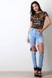 Distressed Wide Knee Hole Jeans
