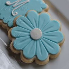 Blue Flower Cookies by Diane's Cakes