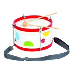A stylish drum with two drumsticks presented as one of the attractive Janod Confetti musical range. Comes complete with adjustable shoulder strap and made from natural leather and wood for an authentic sound. Scrap, Pin On, Educational Toys For Kids, Christmas Gifts For Kids, Kids Store, Gifts For Mum, Kid Spaces, Natural Leather, Discount Designer