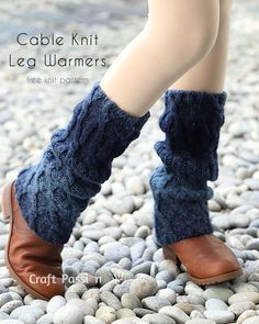 """Free knitting pattern of Cable Knit Leg Warmers, beautiful, charming, stylish, in ombre tone. Written pattern and chart diagram. 15.5"""" long to keep your ankle and calf warm during the cold day."""