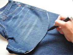 Diy Shorts, Diy Jeans, Jeans Denim, Como Fazer Short, Sewing Hacks, Sewing Projects, Jean Diy, Diy Clothing, Jean Outfits