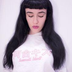 KAWAII KISS SWEAT (White) // available at BABYVOODOO.COM ♥  #white #pink #lolita #pastel goth #pastel #goth #eyebrows #lips #jeffreestar #bettie page #fringe #kawaii #japanese #gyaru #grunge #fashion #model #photography #photoshoot