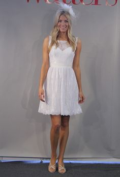 """""""Camellia"""" sleeveless lace A-line wedding dress with an illusion bateau neckline and keyhole back, Encore by Watters"""