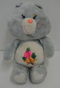 "Vintage Kenner Grams Care Bear Plush Gray Rose Flower 16"" Grandma 1983 #AllOccasion"