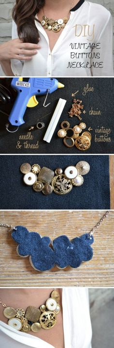 Use vintage buttons of all shapes and sizes to make your own stunning jewelry.