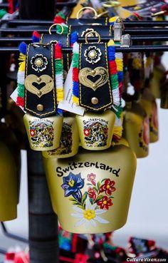 Swiss cow bells for the souvenir hunter. Zermatt, Swiss Miss, Swiss Chalet, Lucerne, Zurich, Vintage Posters, Culture, Cows, Austria