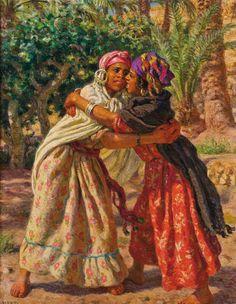 Étienne DINET (1861-1959) « La Lutte des fillettes ».