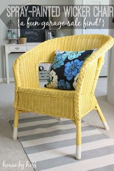 Spray Painted Wicker Chair!  Quick  easy update!!