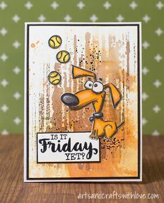 Crazy Dog card, background pattern stamped with an embossing folder. -by Elina Stromberg-