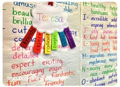 """Rainbow namebows"" for learning about adjectives & character describing words."