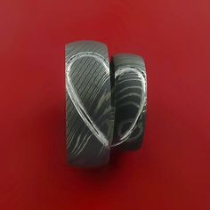 Matching Damascus Steel Heart Carved Ring Set Wedding Bands Genuine Craftsmanship - Stonebrook Jewelry  - 4