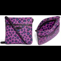 """Vera Bradley Slim & Trim Hipster Purse Leopard EUC Vera Bradley Slim & Trim Hipster Purse B.B. Collection textured PVC slim style Adjustable Cross Body Strap Design: Purple Leopard Spots Made of Textile Zipper Closure Exterior front slip pocket Signature logo embossed detail in front Lined interior Interior back-wall slip pocket Measurements:  Bottom Width: 11"""" Depth: 1"""" Height: 12"""" Strap Length: 52"""" Strap drop: 24"""" Excellent Used Condition.  NO Sign of Wear:) Vera Bradley Bags Crossbody…"""