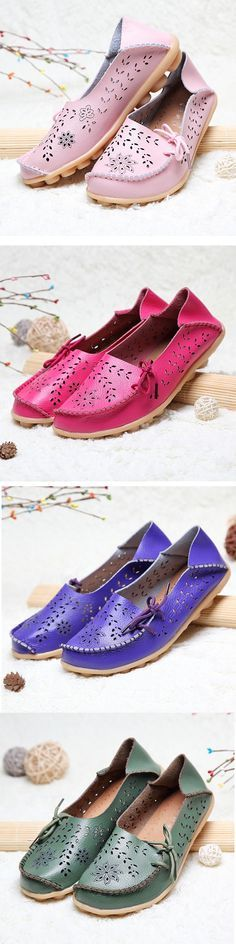 US$16.60  Big Size Breathable Hollow Out Flat Lace Up Soft Leather Shoes