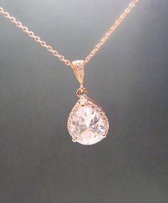 Rose gold Bridal necklace Crystal Wedding necklace by treasures570, $40.00