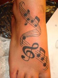 Music foot tattoos