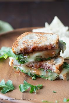 Gluten Free Pepper Jack Grilled Cheese with Strawberry Hot Sauce and Arugula found at http://www.fearlessdining.com
