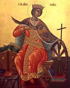 Catherine the Great Martyr - Celebrated on November Century Icon of St. Catherine with Scenes from her life, from the M. Byzantine Icons, Byzantine Art, Religious Gifts, Religious Art, Religious Icons, Katharina Von Alexandrien, Saint Catherine's Monastery, St Catherine Of Alexandria, Saint Katherine