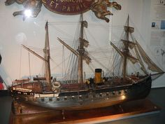 Model of La Gloire, an ironclad ship