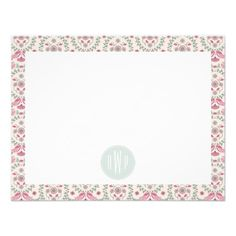 Vintage Inspired Pink and Green Pattern Monogram from Jill's Paperie