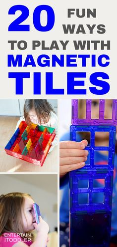 Find new ways to play and learn with magnetic tiles of any kind. Make new kinds of buildings, artwork, mazes, and even construct words all with magnetic tiles. Activities To Do With Toddlers, Activities For 1 Year Olds, Rainy Day Activities, Indoor Activities For Kids, Infant Activities, Playroom Design, Kid Playroom, Kids Room, Things To Do Inside