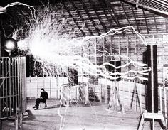 Nikola Tesla in his laboratory, 1899