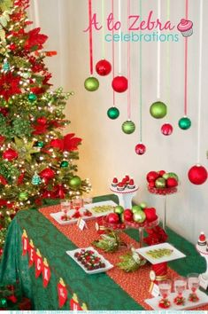 Easy Christmas Party Ideas with fun food appetizers and desserts for an ornament exchange party. Strawberry Santa Hats and Christmas Tree Fruit. Christmas Buffet, Tacky Christmas, Christmas Party Food, Christmas Party Decorations, Xmas Party, Simple Christmas, Holiday Parties, Christmas Holidays, Christmas Crafts