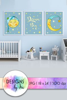 Download Sleeping Moon Nursery Art | Set of 3 Prints | Dream Big (1107373) today! We have a huge range of Illustrations products available. Commercial License Included. #ad Nursery Room Decor, Nursery Wall Art, Nursery Ideas, Nursery Frames, Nursery Prints, Kids Room Art, Art Kids, Nursery Patterns, Moon Nursery