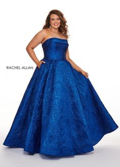 Style 7241 from Rachel Allan Curves is a plus size jacquard ballgown that has a strapless straight neckline and pockets.