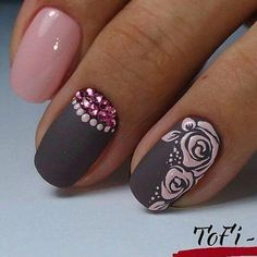 Gem Nails, Rose Nails, Purple Nails, Flower Nails, Perfect Nails, Gorgeous Nails, Pretty Nails, Cute Nail Art, Gel Nail Art