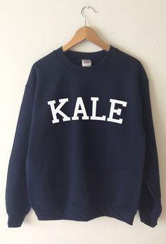 Kale Sweatshirts from T-me High quality Screen Print World wide shipping Kale Sweater womens fashion Navy, Black, Grey, Burgundy, Maroon, Grey , White