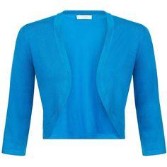 Hobbs Carrie Open Neck Bolero (2.440 RUB) ❤ liked on Polyvore featuring outerwear, jackets, kingfisher, embellished jackets, blue bolero, reversible jacket, knit jacket and 3 4 sleeve bolero jacket