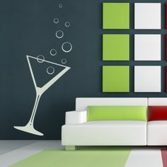 Cocktail Glass Bubbles Drink Kitchen Wall Art Sticker Wall Decal - Utensils - Kitchen - Home & Living Kitchen Wall Stickers, Wall Stickers Home Decor, Kitchen Wall Art, Home Decor Wall Art, Wall Decals, Bubble Drink, Cocktail Glass, Restaurant Design, Home And Living